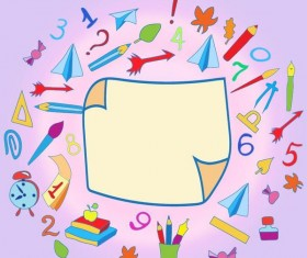 Hand drawn school elements with blank paper background vector 01