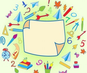 Hand drawn school elements with blank paper background vector 05