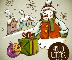 Hand drawn snowman with gift box christmas vector