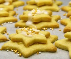 Handmade Christmas star cookies Stock Photo