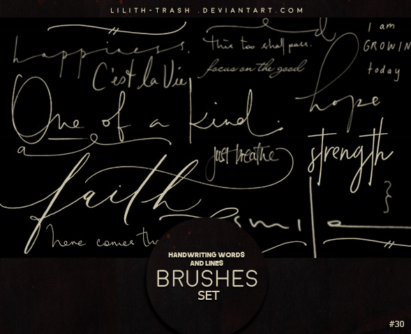 Handwriting Words and Lines photoshop brushes