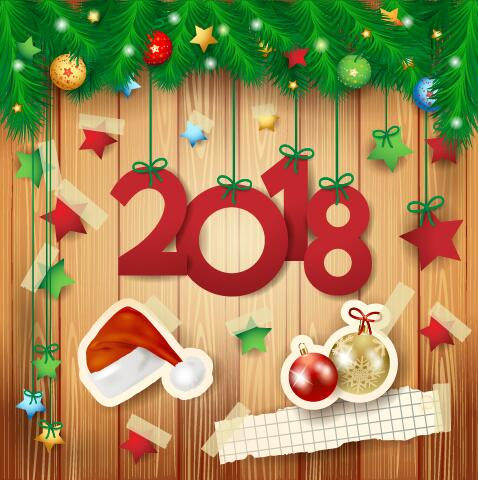 happy 2018 new year background with decorative vector