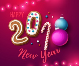 Happy 2018 new year red background vector 01