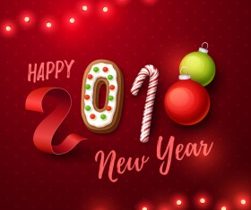 Happy 2018 new year red background vector 02