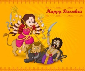Happy Dussehra festival vector material 03