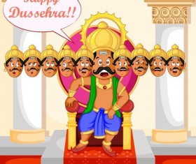 Happy Dussehra festival vector material 04