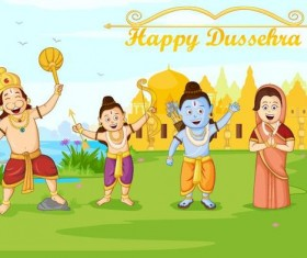 Happy Dussehra festival vector material 05
