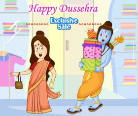 Happy Dussehra festival vector material 06
