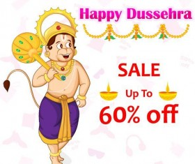 Happy Dussehra festival vector material 09