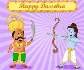 Happy Dussehra festival vector material 10