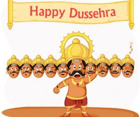 Happy Dussehra festival vector material 11