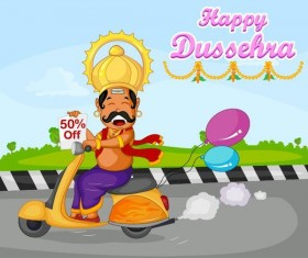 Happy Dussehra festival vector material 12