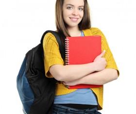 Happy college girl Stock Photo