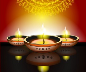 Happy diwali holiday candle background vector