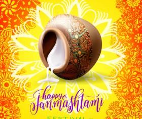 Happy janma shtami holiday background vector 01