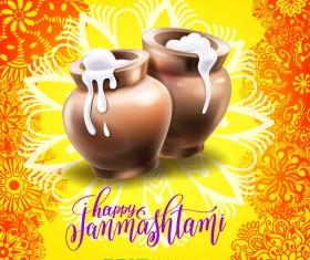 Happy janma shtami holiday background vector 02