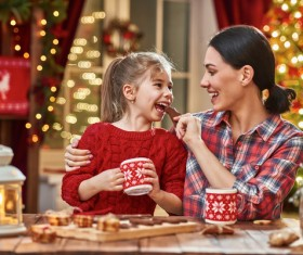 Happy mothers and daughters spend Christmas Stock Photo