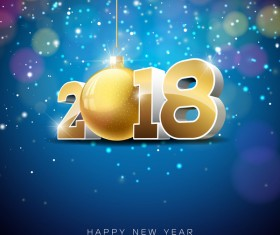 Happy new year 2018 background vectors material
