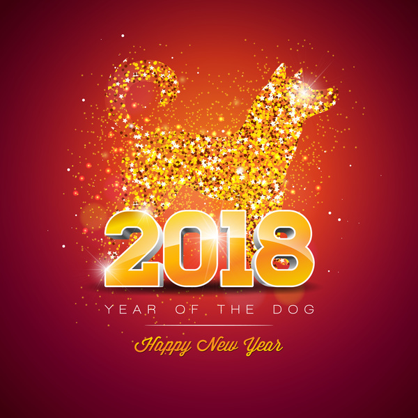 happy new year 2018 year of dog vectors design 01