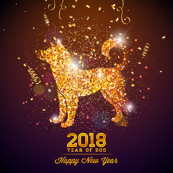 happy new year 2018 year of dog vectors design 02