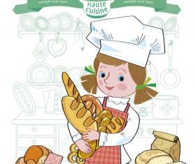 Haute cuisine girl vector material