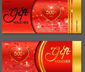 Heart with gift voucher template vector