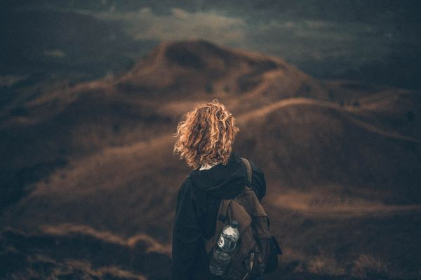 Hiking Bali volcano Stock Photo