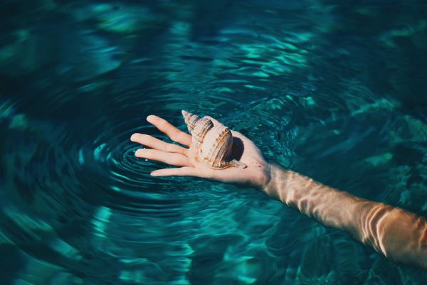 Holding the hand of the conch Stock Photo