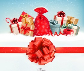 Holiday background with colorful gift boxes and red gift bow vector