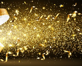 Holiday background with golden confetti design vector