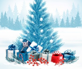Holiday christmas background with colorful gift boxes and blue tree vector