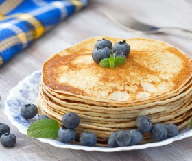 Homemade blueberry fruit pancakes Stock Photo