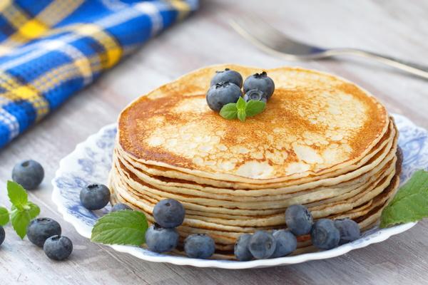 Homemade blueberry fruit pancakes Stock Photo