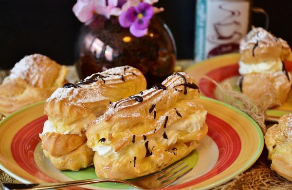 Homemade delicious cream puffs Stock Photo