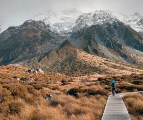 Hooke Valley orbit Mount Cook National Park Stock Photo