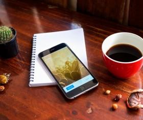 IPhone on the desktop Stock Photo