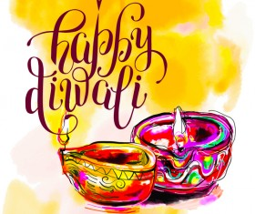 Indian happy diwali holiday background hand drawn vector 01