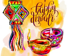 Indian happy diwali holiday background hand drawn vector 02