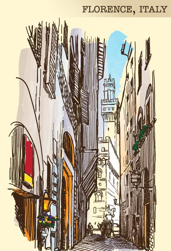 Italy florence painted sketch vector