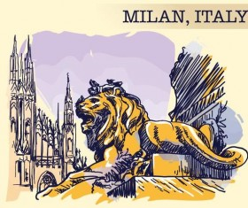 Italy milan painted sketch vector
