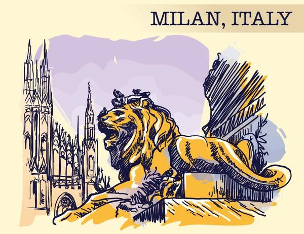Italy milan painted sketch vector