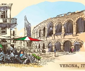 Italy verona painted sketch vector