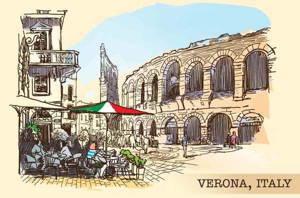 Italy verona painted sketch vector