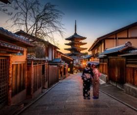 Japanese woman in traditional kimono Stock Photo