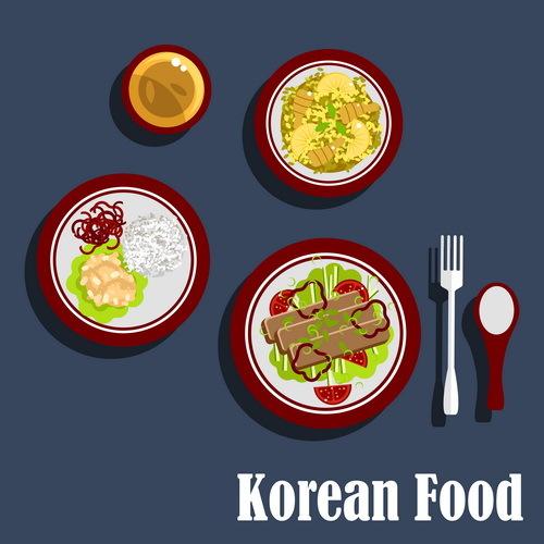Korean food design vector 04