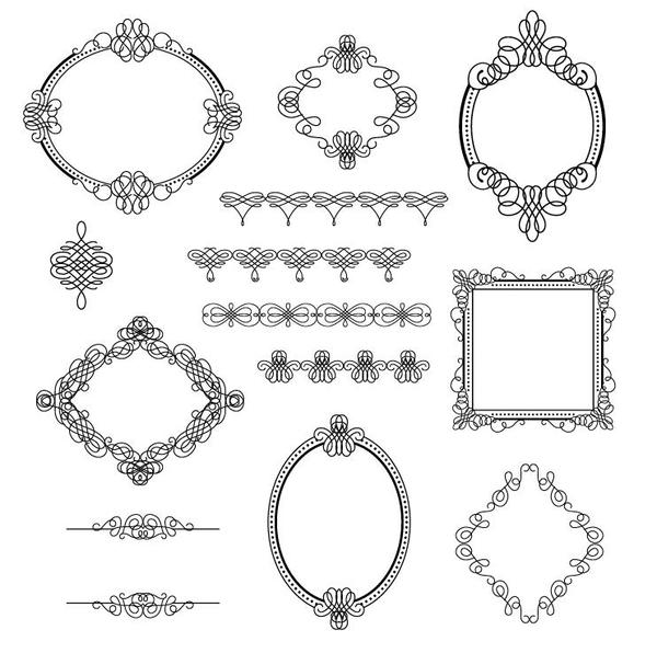 Lines frame with ornaments vector material free download