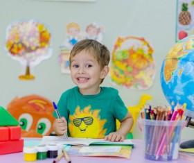 Little boy learning Stock Photo