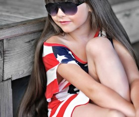Little girl with beautiful long hair Stock Photo 01