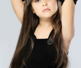 Little girl with beautiful long hair Stock Photo 02