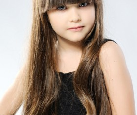 Little girl with beautiful long hair Stock Photo 03